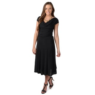 Journee Collection Women's Drape Neck Cap Sleeve Dress