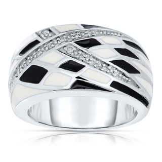 Sterling Silver Black and White Checker Diamond Ring (I-J, I2-I3)