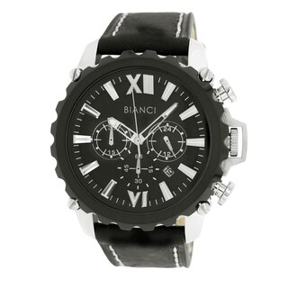Roberto Bianci Men's Sports Chronograph Watch with Black Dial and Black Leather Band