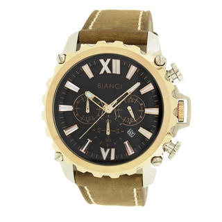 Roberto Bianci Men's Sports Chronograph Watch with Black Dial and Brown Leather Band