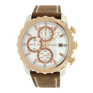 Roberto Bianci Men's Sports Chronograph Watch with Silvertone Dial and Brown Leather Band