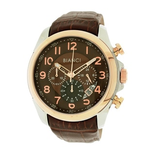 Roberto Bianci Men's Sports Chronograph Watch with Brown Dial and Leather Band