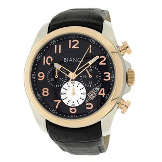 Roberto Bianci Men's Sports Chronograph Watch with Black Dial and Leather Band