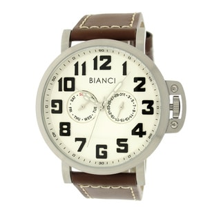 Roberto Bianci Men's Sports Day and Date Watch with White Dial and Leather Band