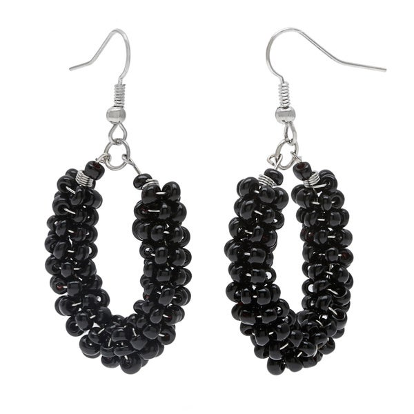 Black Glass Bead Loop Earrings