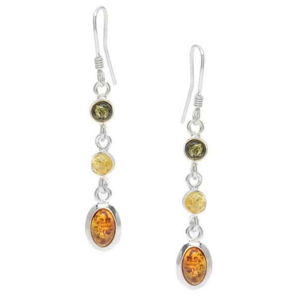 Sterling Silver Multi-colored Amber Dangle Earrings 12798718