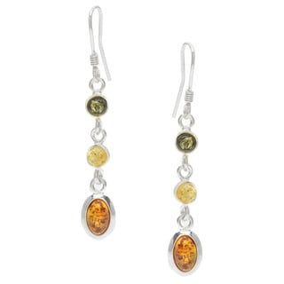 Sterling Silver Multi-colored Amber Dangle Earrings
