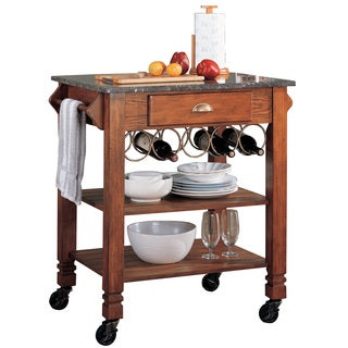 Oak Wine Storage Granite Top Kitchen Cart
