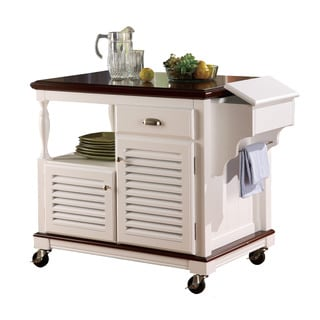 Cherry Topped White Kitchen Cart