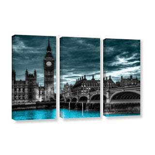 ArtWall Revolver Ocelot 'London' 3 piece Gallery-Wrapped Canvas