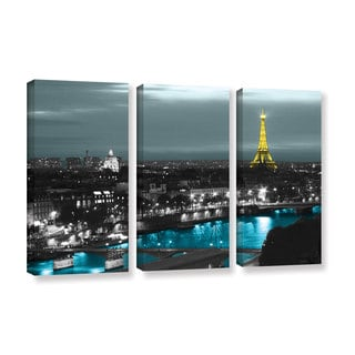 ArtWall Revolver Ocelot 'Paris' 3 piece Gallery-Wrapped Canvas