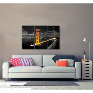 ArtWall Revolver Ocelot 'San Fransico Bridge I' 3 piece Gallery-Wrapped Canvas