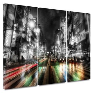 ArtWall Revolver Ocelot 'Tokoyo Night' 3 piece Gallery-Wrapped Canvas
