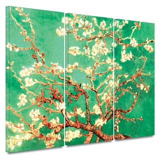 Art Wall Vincent van Gogh '3-Piece Almond Blossom-Interpretation in Emerald Green' gallery wrapped canvas