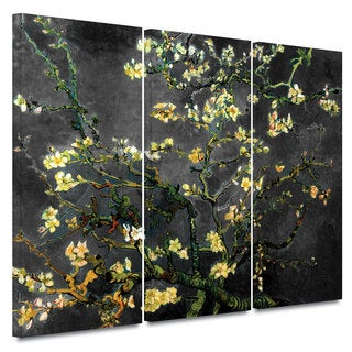 Art Wall Vincent van Gogh '3-Piece Almond Blossom-Interpretation in Dahlia Black' gallery wrapped canvas