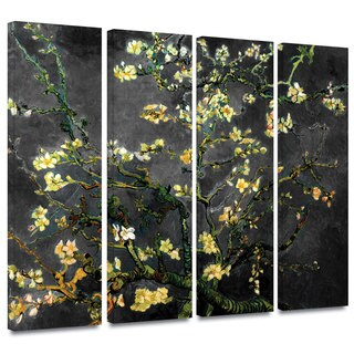 Art Wall Vincent van Gogh '4-Piece Almond Blossom-Interpretation in Dahlia Black' gallery wrapped canvas
