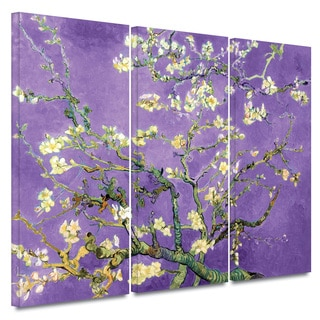 Art Wall Vincent van Gogh '3-Piece Almond Blossom-Interpretation in Iris Violet' gallery wrapped canvas