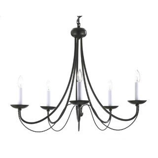 Versailles 5-light Black Wrought Iron Chandelier