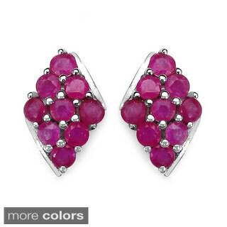 Sterling Silver Ruby and Tanzanite Stud Earrings