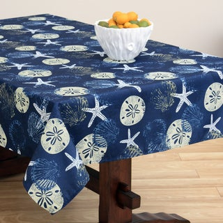 Batik Shell Dark Ocean Tablecloth (Zipper Options Available)