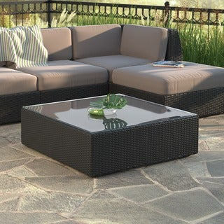 CorLiving Seattle Textured Black Weave Patio Table