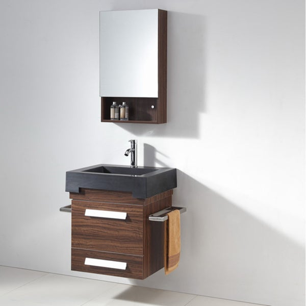 Artificial Stone Top 23.5-inch Wall Mounted Single Sink Bathroom Vanity and Matching Mirror Cabinet