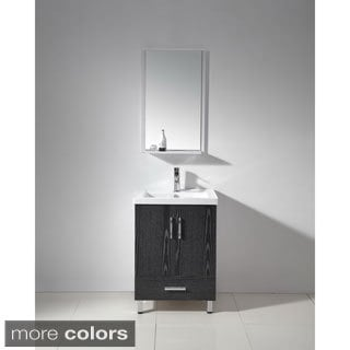 Single Sink 24-inch White Ceramic Top Bathroom Vanity and Mirror