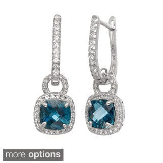 Gioelli Sterling Silver Gemstone and Created White Sapphire Accent Saddleback Earrings