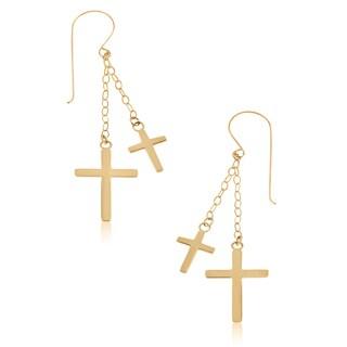 Gioelli 14k Yellow Gold Double Cross Dangle Earrings