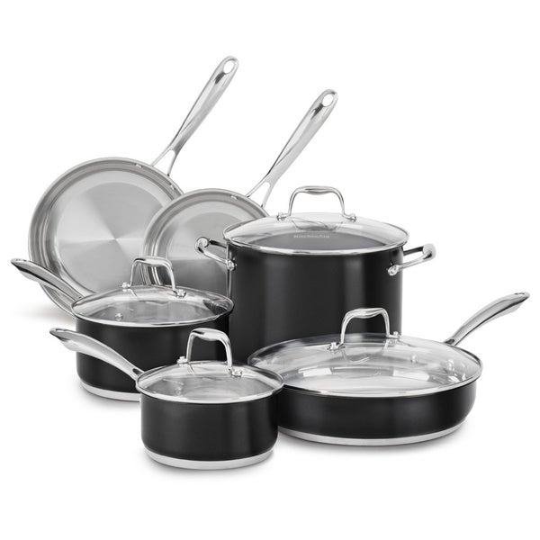 KitchenAid Stainless Steel Onyx Black 10-piece Cookware Set