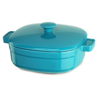 KitchenAid Streamline Curacao Blue Cast Iron 4-quart Casserole