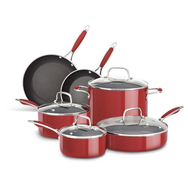 KitchenAid Aluminum Nonstick Empire Red 10-piece Cookware Set