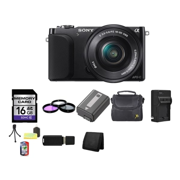 Sony Alpha NEX-3N Mirrorless Digital Camera 16-50mm Lens 16GB Bundle