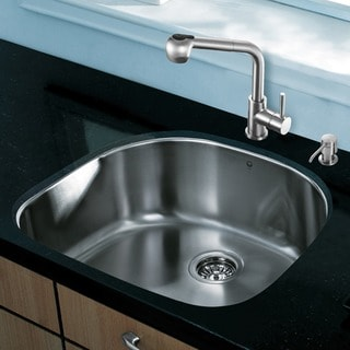 VIGO All in One 24-inch Undermount Stainless Steel Kitchen Sink and Faucet Set