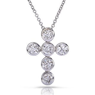 Annello 14k White Gold 1ct TDW Round Diamond Cross Pendant Necklace (H-I, I1-I2)