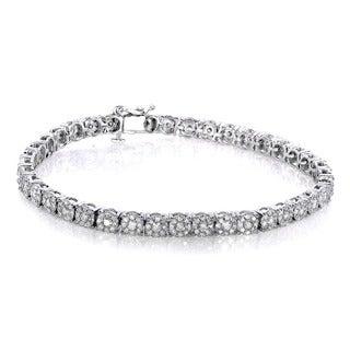Annello 10k White Gold 3ct TDW Round Diamond Tennis Bracelet (H-I, I2-I3)