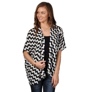 Journee Collection Women's Chevron Print Open Front Cardigan