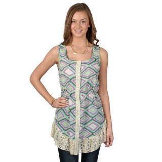 Hailey Jeans Co. Junior's Printed Lace Trim Tunic Top