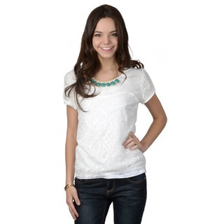 Hailey Jeans Co. Junior's Short-sleeve Lace Top