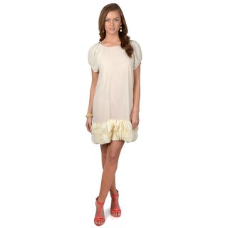 Hailey Jeans Co. Juniors Ivory Cap Sleeve Chiffon Dress