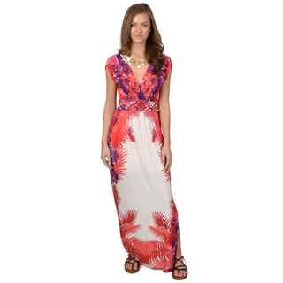 Hailey Jeans Co. Junior's Surplice Print Maxi Dress