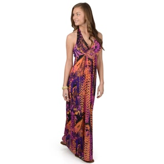 Hailey Jeans Co. Junior's Printed Halter Top Maxi Dress