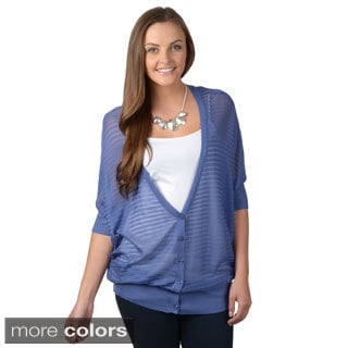 Hailey Jeans Co. Junior's Button-up Dolman Sleeve Cardigan