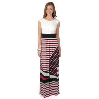 Sangria Women's Cap Sleeve Round Neck Maxi Dress