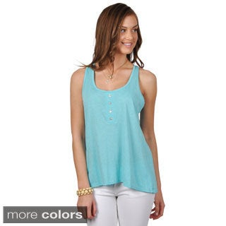 Hailey Jeans Co. Junior's Button Detail Scoop Neck Tank