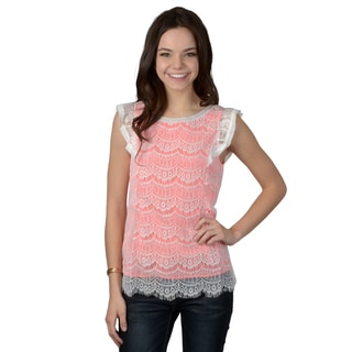 Hailey Jeans Co. Junior's Cap Sleeve Lace Top