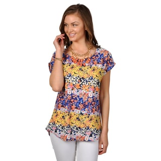 Journee Collection Women's Scoop Neck Floral Print Top