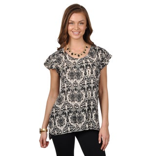 Journee Collection Women's Short Sleeve Printed Top
