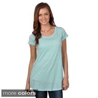 Journee Collection Women's Short Sleeve Scoop Neck Tunic Top