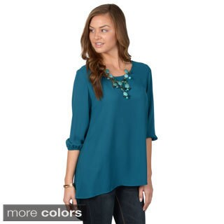 Journee Collection Women's Scoop Neck Chiffon Top